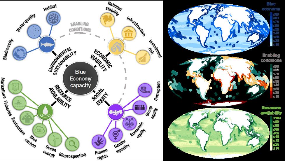 Distribuição de pontuações de dimensão em oceanos, regiões e grupos de desenvolvimento